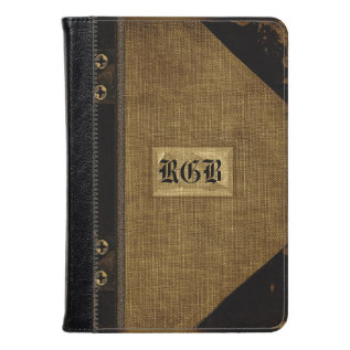 Wopsle Sepia Fire Old Book Style Monogram Kindle Case at Zazzle