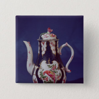Worcester coffee pot, decorated with birds pinback button
