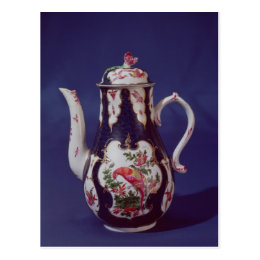 Worcester coffee pot, decorated with birds postcard