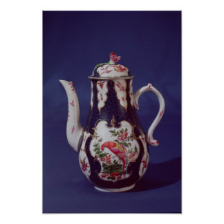 Worcester coffee pot, decorated with birds poster