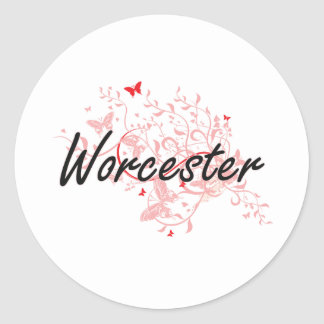 Worcester Massachusetts City Artistic design with Classic Round Sticker