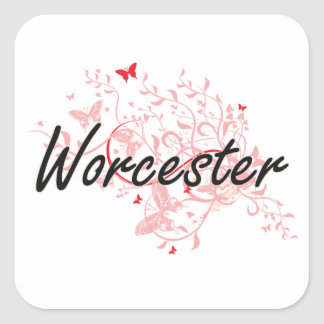 Worcester Massachusetts City Artistic design with Square Sticker