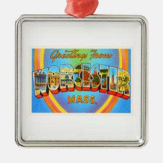 Worcester Massachusetts MA Vintage Travel Souvenir Metal Ornament
