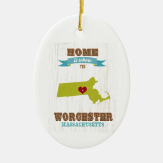 Worcester, Massachusetts Map – Home Is Where Ceramic Ornament