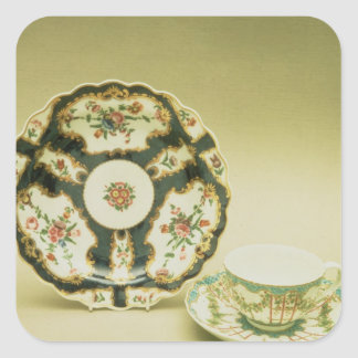 Worcester porcelain plate with blue decoration square sticker