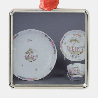 Worcester teabowl and saucer and dish metal ornament