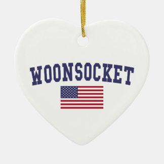 Worcester US Flag Ceramic Ornament