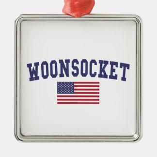 Worcester US Flag Metal Ornament
