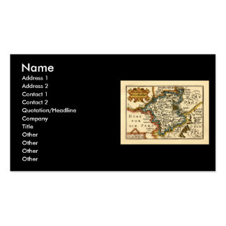 Worcestershire County Map, England Double-Sided Standard Business Cards (Pack Of 100)