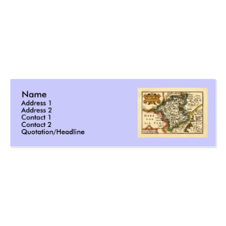 Worcestershire County Map, England Double-Sided Mini Business Cards (Pack Of 20)