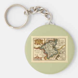 Worcestershire County Map, England Keychains