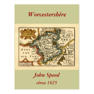 Worcestershire County Map England Postcards