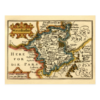 Worcestershire County Map, England Postcard