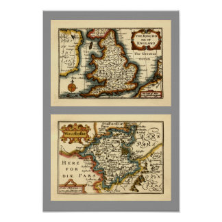 Worcestershire County Map, England Posters