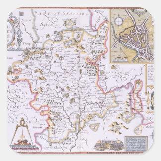 Worchestershire, engraved by Jodocus Hondius Square Sticker