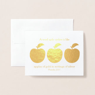 Word Aptly Spoken Apples Gold Pastor Appreciation Foil Card
