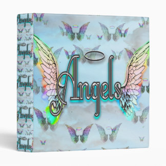 Word Art Angel with Wings & Halo - Rainbow colored Binder