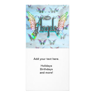 Word Art Angel with Wings & Halo - Rainbow colored Card