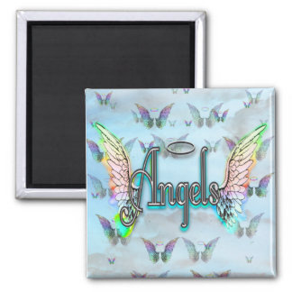 Word Art Angel with Wings Halo - Rainbow colored Fridge Magnets