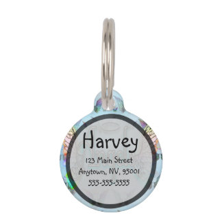 Word Art Angel with Wings & Halo - Rainbow colored Pet ID Tag
