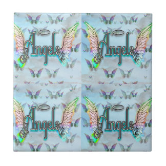 Word Art Angel with Wings & Halo - Rainbow colored Tile