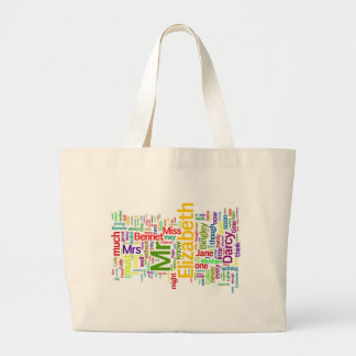 Word Art from Jane Austen's Pride and Prejudice Large Tote Bag