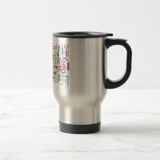Word Art from Jane Austen's Pride and Prejudice Travel Mug