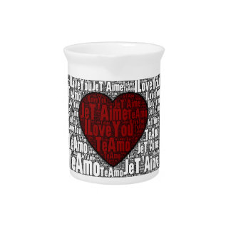 """Word Art: """"I Love You"""" 3 languages - Red Heart Beverage Pitcher"""