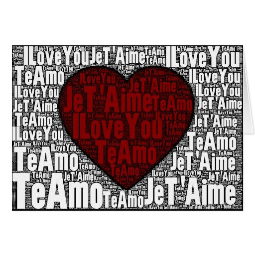 """Word Art: """"I Love You"""" 3 languages - red heart Card"""