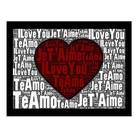 """Word Art: """"I Love You"""" 3 languages - Red Heart Postcard"""