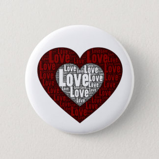Word Art: Love in a Double Heart Button