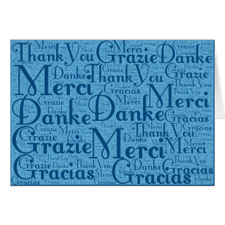 Word Art: Thank You in Multi Languages Aqua Blue 2 Stationery Note Card