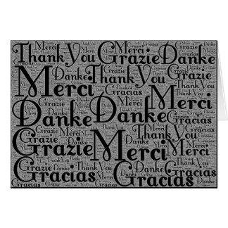 Word Art: Thank You in Multi Languages Black White Stationery Note Card