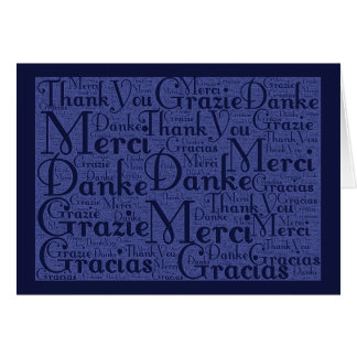 Word Art: Thank You in Multi Languages - Blue #2 Stationery Note Card