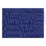 Word Art: Thank You in Multi Languages - Blue Greeting Cards