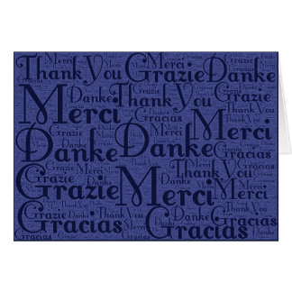 Word Art: Thank You in Multi Languages - Blue Stationery Note Card