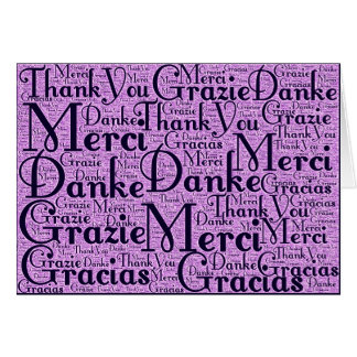 Word Art: Thank You in Multi Languages - Pink Navy Stationery Note Card