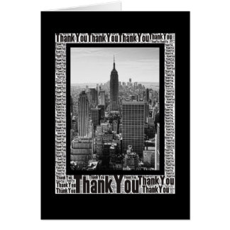 Word Art: Thank You - New York City Skyline  B&W Stationery Note Card