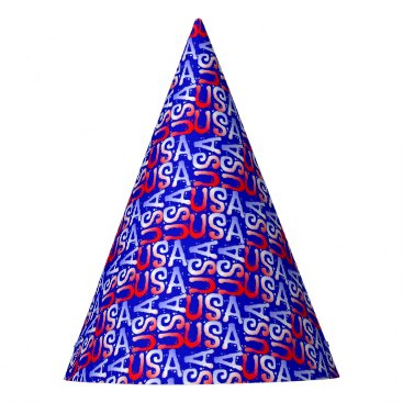 USA Themed Word Art USA Text,Blue-PAPER PARTY HATS