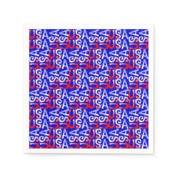 USA Themed Word Art USA Text,Blue-PAPER PARTY NAPKINS