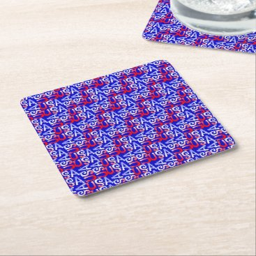 USA Themed Word Art USA Text,blue-PULP PARTY COASTERS