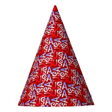 USA Themed Word Art USA Text,Red-PAPER PARTY HATS
