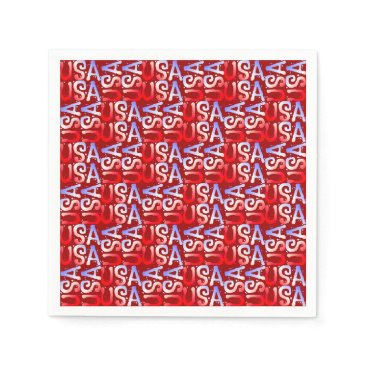 USA Themed Word Art USA Text,Red-PAPER PARTY NAPKINS