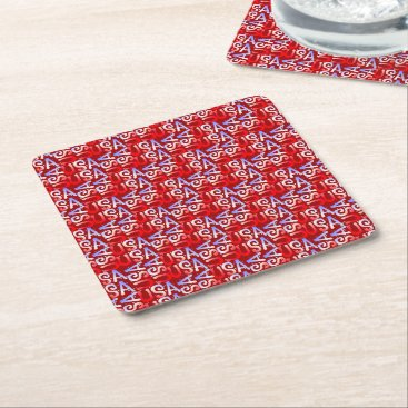 USA Themed Word Art USA Text,Red-PULP PARTY COASTERS