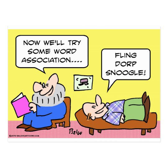 word association psychiatrist postcard