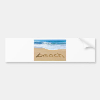 Word beach on sandy coast with blue sea bumper sticker