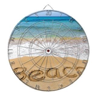 Word Beach written in sand at greek sea Dartboard With Darts