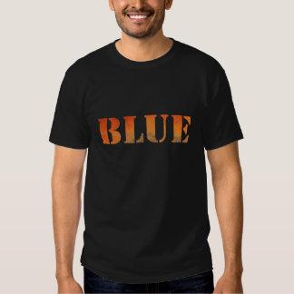 Word Blue in Orange T Shirt