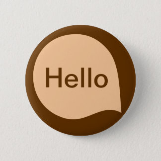 Word Bubble - Sand on Brown Pinback Button