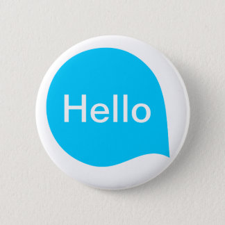 Word Bubble - Sky Blue on White Pinback Button
